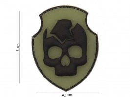 Ghost skull 3D PVC patch with velcro - OD