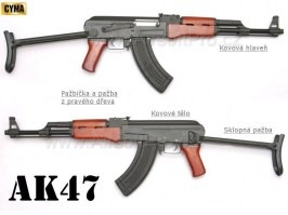 Airsoft rifle AK47S - full metal, wood (CM.042S) [CYMA]