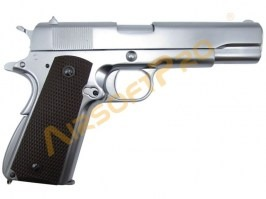 Airsoft pistol M1911 A1 (Ver.3) Matt Chrome - gas blowback, full metal [WE]
