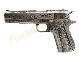 Airsoft pistol M1911 - etched, version silver, gas blowback, full metal [WE]